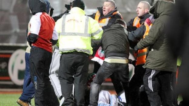 Trouble breaks out after the final whistle at Solitude