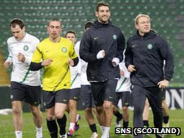 Celtic players training in Italy
