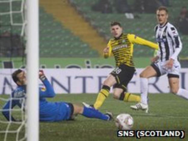 Celtic's Gary Hooper in action against Udinese