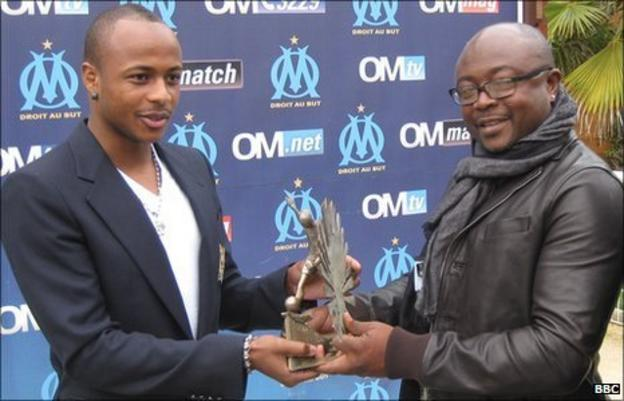 Andre 'Dede' Ayew (left) and his father, Abedi 'Pele' Ayew