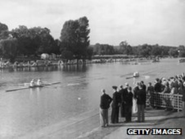 Spectators watch the 1948 Olympic rowing competition at Henley-on-Thames