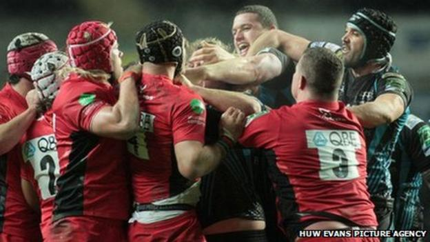 Tempers flare between the Saracens and Ospreys players