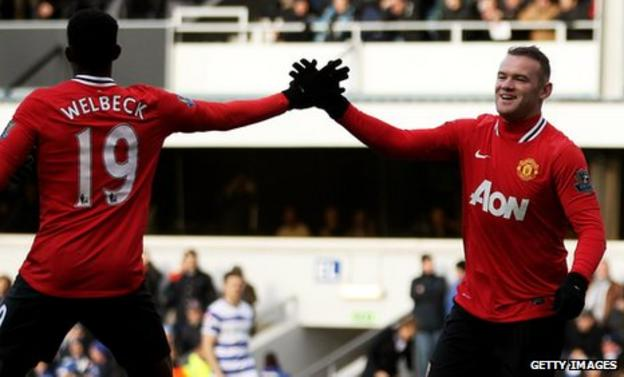 Wayne Rooney scoring the opening goal against QPR at Loftus Road