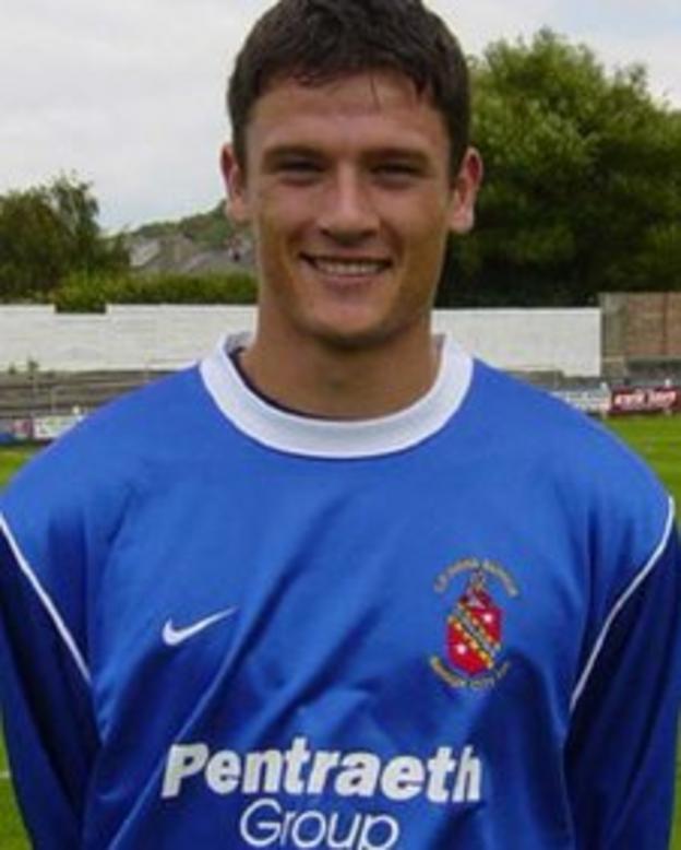 Owain Tudur Jones pictured at Farrar Road during his Bangor City career