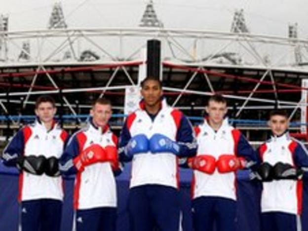 (L to R) Luke Campbell, Tom Stalker, Anthony Joshua, Fred Evans and Andrew Selby