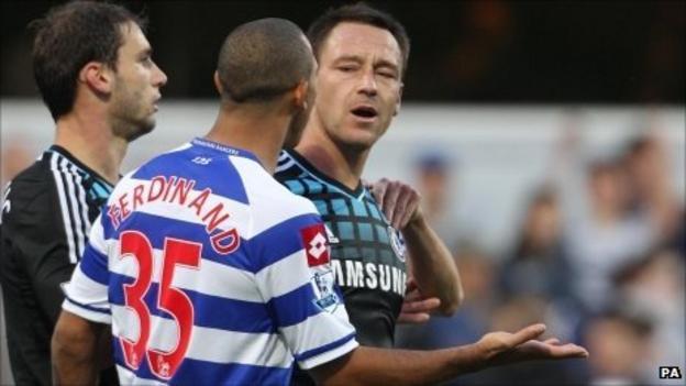 QPR's Anton Ferdinand (centre) and Chelsea's John Terry (right)