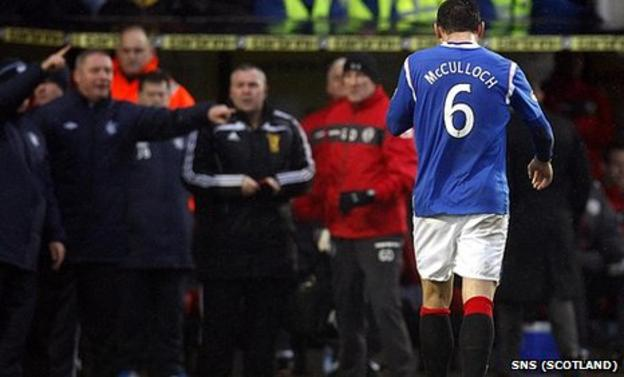 Lee McCulloch was sent off after 24 minutes at St Mirren Park