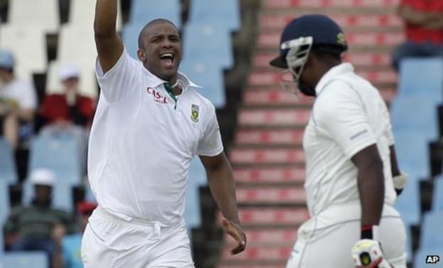 Vernon Philander celebrates dismissing Chanaka Welegedara in the first Test