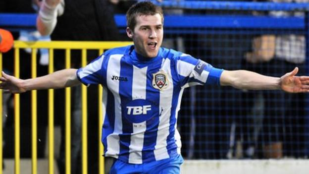 Stephen Lowry celebrates after scoring against Ballymena