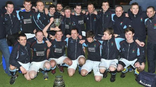 Lisnagarvey celebrate their Kirk Cup triumph on Monday
