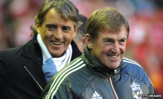 Manchester City manager Roberto Mancini and Liverpool boss Kenny Dalglish