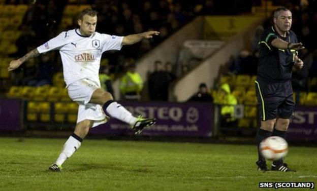 Kallum Higgingbotham scores for Falkirk against Livingston