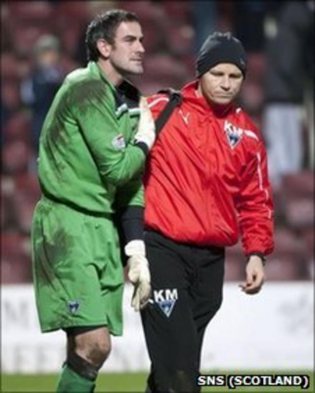 Paul Gallacher goes off injured