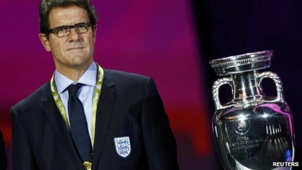 England coach Fabio Capello and the European Championship trophy