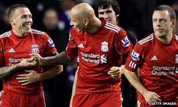 Craig Bellamy (left) equalised for Liverpool