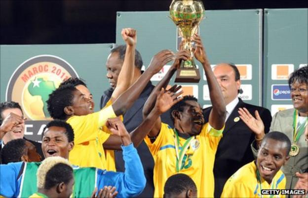 Gabon's players celebrate winning the Confederation of African Football's inaugural Under-23 championships