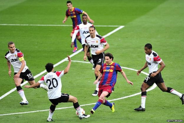 Messi scored in the 3-1 win over Manchester United at Wembley