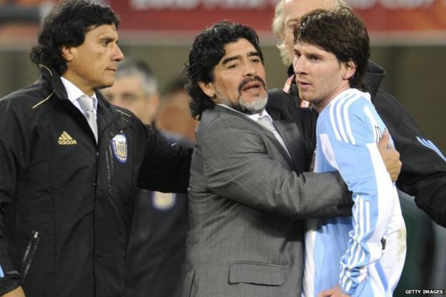 Messi with Diego Maradona
