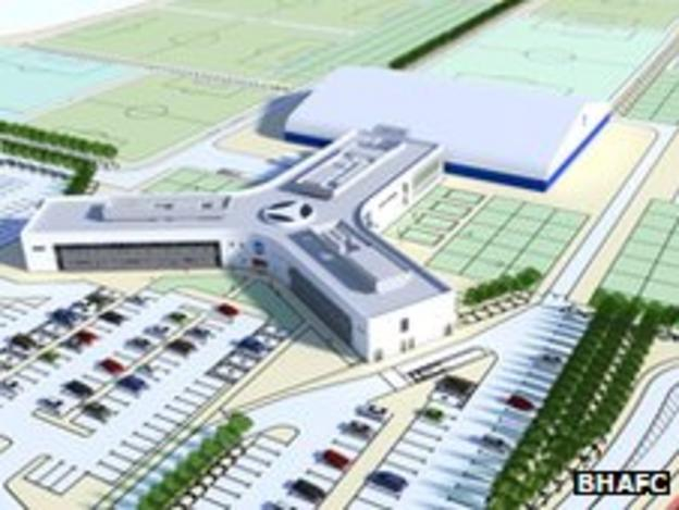 An artist's impression of Brighton's new training complex in West Sussex