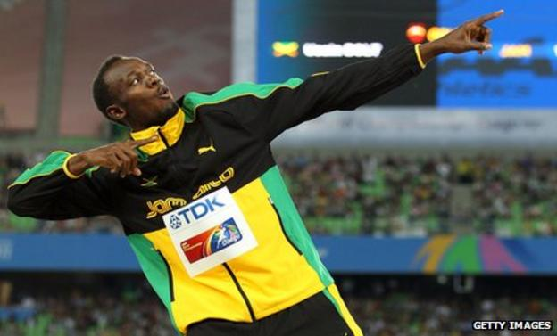 Jamaican athlete Usain Bolt who holds the 100m and 200m world records