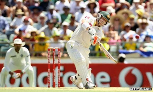 David Warner smashes a six on day two in Perth
