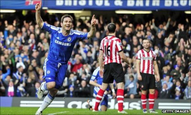 Frank Lampard celebrates his first-half goal against Sunderland