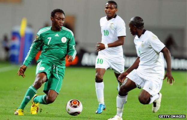 Felix Katongo (C) playing for Zambia against Chinedu Obasi of Nigeria (L) at the 2010 Nations Cup in Angola