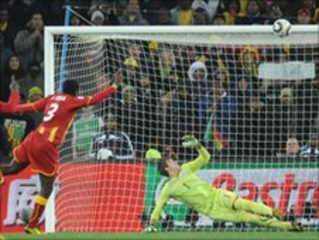 Asamoah Gyan hits the bar in the World Cup quarter-final against Uruguay