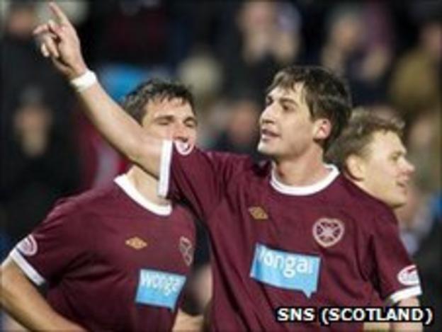 Rudi Skacel celebrates the second of his three goals against St Mirren