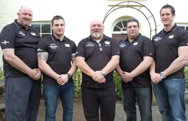 Brian Smallworth (centre) and his four new players for the 2012 season