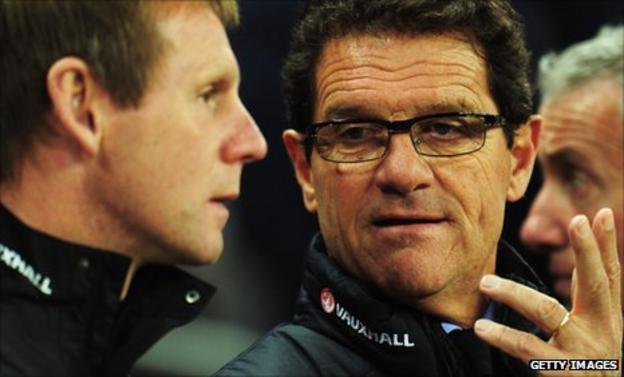 Stuart Pearce and England manager Fabio Capello