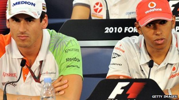 Adrian Sutil and Lewis Hamilton