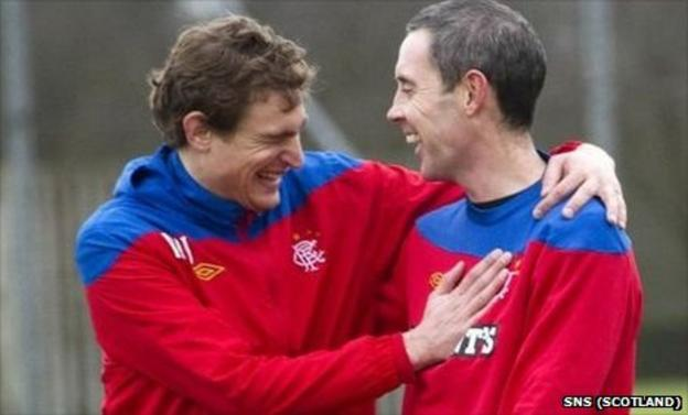 Nikica Jelavic and David Weir share a laugh