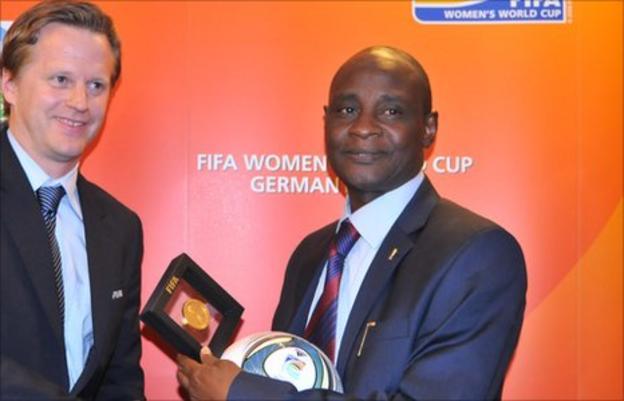 Nigeria Football Federation chairman Alhaji Aminu Maigari (right)