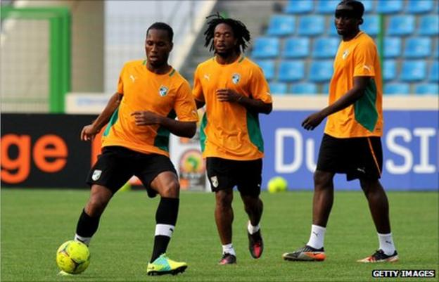 Didier Drogba, Jaen-Jacques Gosso Gosso and Sol Bamba