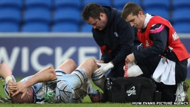 Gethin Jenkins receives treatment to a knee injury during the Heineken Cup win over Racing Metro