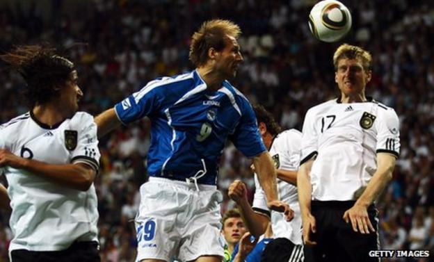 Zlatan Muslimovic in action for Bosnia against Germany