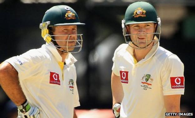 Australia captain Michael Clarke (r) and former captain Ricky Ponting