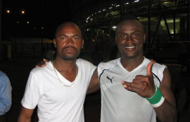Equatorial Guinea defender Laurence Doe and his brother Prince Diligent Doe