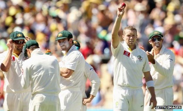 Peter Siddle (second right) celebrates his five-wicket haul