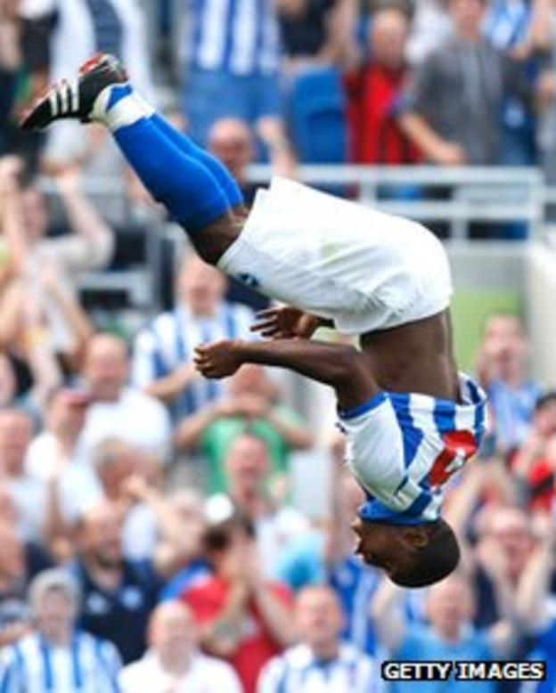 Kazenga LuaLua performs his backflip celebration in a pre-season game against Tottenham
