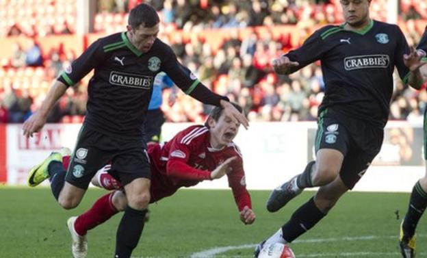 Peter Pawlett was deemed to have dived to win a penalty for Aberdeen