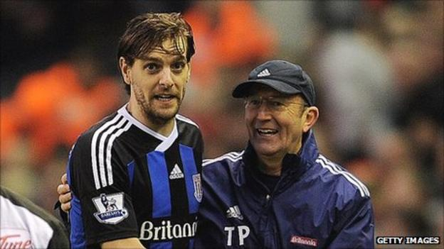 Stoke City's Jonathan Woodgate (left) is congratulated by manager Tony Pulis after a 0-0 draw at Liverpool
