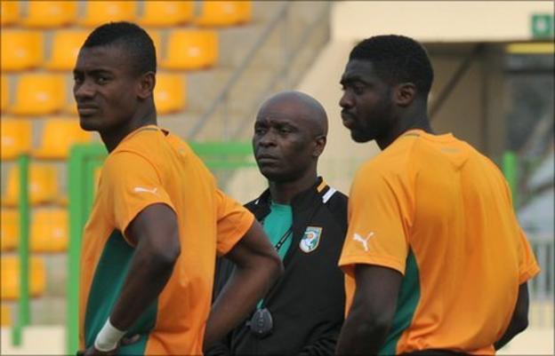 Ivorians Salomon Kalou, Francois Zahoui and Kolo Toure