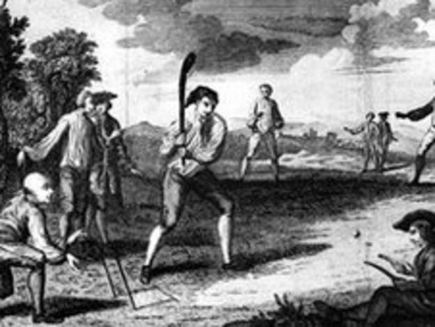 A game of cricket in 1743
