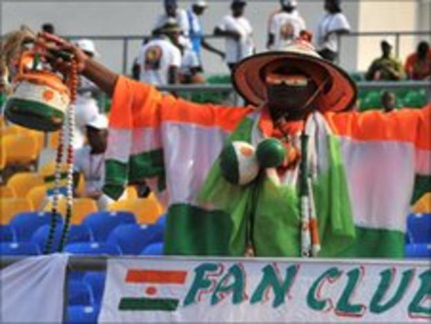 A Niger football fan inside Libreville's Stade de l'Amitie