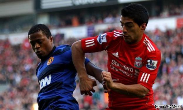 Patrice Evra and Luiz Suarez
