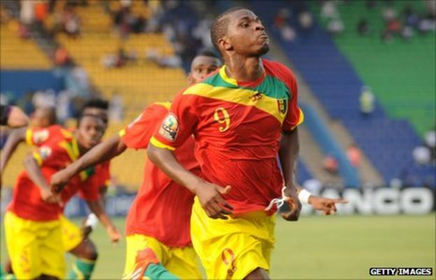 Guinea striker Sadio Diallo is the scorer of two goals in his side's 6-1 thumping of Botswana