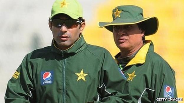 Pakistan captain Misbah-ul-Haq and interim coach Mohsin Khan