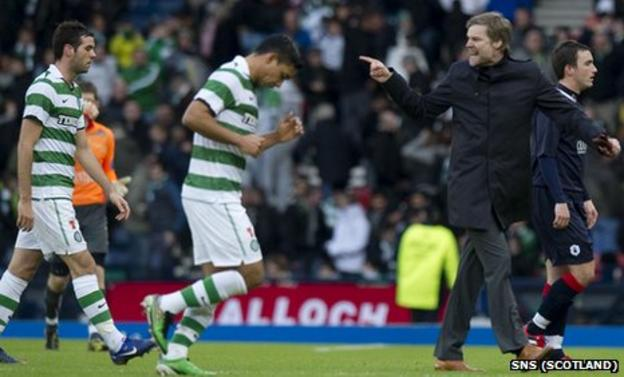 Falkirk manager Steven Pressley took to the pitch at half time to vent his frustration with referee Euan Norris (unseen)